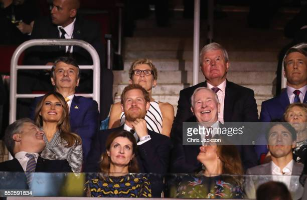 Prince Harry with First lady Melania Trump Sophie Grégoire Trudeau and Canadian Prime Minister Justin Trudeau attend the opening ceremony of the 2017...