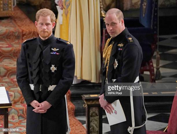 Prince Harry with his Best Man the Duke of Cambridge wait for the start of his wedding ceremony to Meghan Markle at St George's Chapel on May 19 2018...
