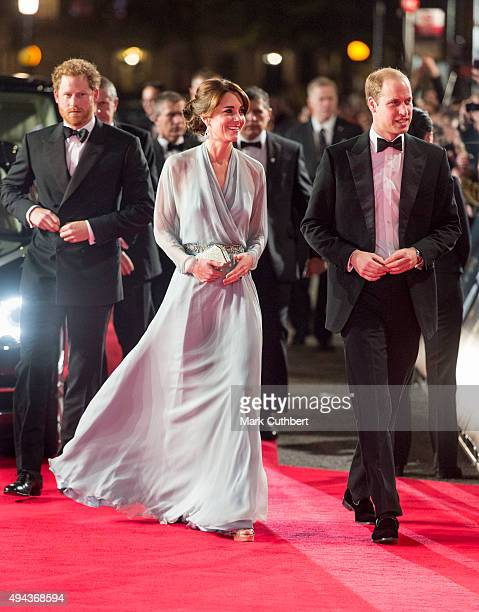 """Prince Harry with Prince William, Duke of Cambridge and Catherine, Duchess of Cambridge attend the Royal Film Performance of """"Spectre"""" at Royal..."""