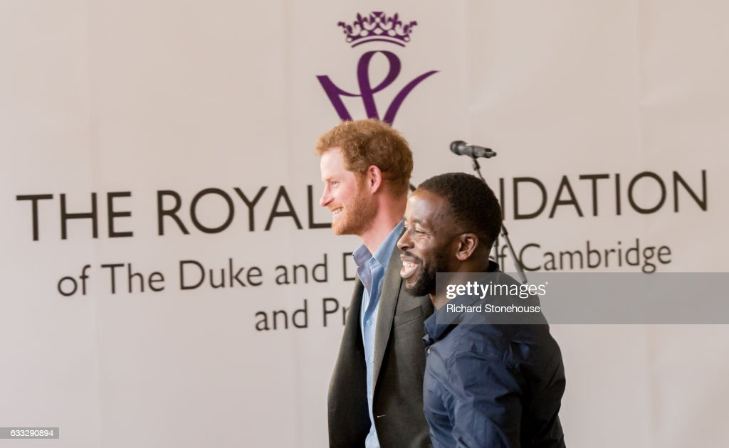 Prince Harry with Trevor Rose Manager of the Full Effect project during an official visit to Full Effect & Coach Core on February 1, 2017 in Nottingham, England. Full Effect and Coach Core are projects supported by The Royal Foundation to improve opportunities for young people.