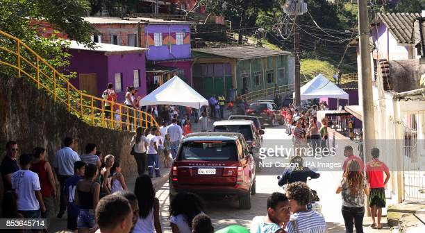Prince Harry's cavalcade in the village of Cota 200 outside Sao Paolo where he viewed Mata Atlantica the Atlantic Rainforest and learnt about the...