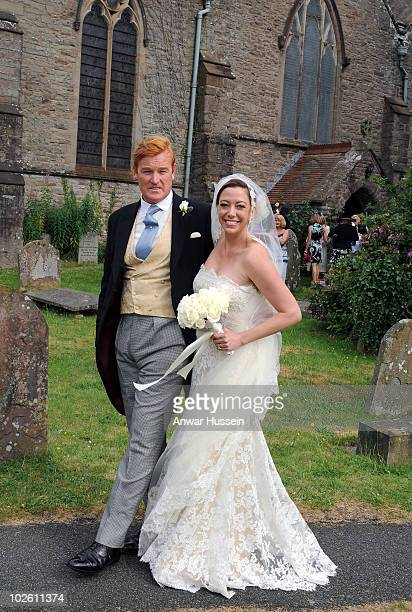 Prince Harry's former Equerry Mark Dyer marries Amanda Kline of Texas at St Edmund's Church Crickhowell on July 3 2010 in Abergavenny Wales