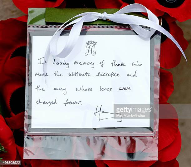 Prince Harry's hand written note on his wreath which he laid at the Cenotaph during the annual Remembrance Sunday Service on November 8 2015 in...