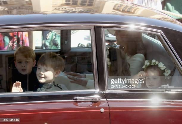 Prince Harry's nephew and page boy Prince George Page boy Jasper Dyer 3yearold bridesmaid Florence van Cutsem Britain's Catherine Duchess of...