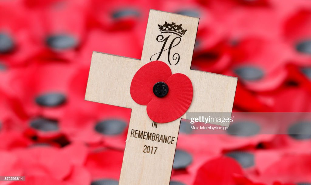 Prince Harry's Remembrance Tribute Cross, bearing his Royal Cypher, which he planted during a visit to the Field of Remembrance at Westminster Abbey on November 9, 2017 in London, England. The first Field of Remembrance was held in the grounds of Westminster Abbey in November 1928 when only two Remembrance Tribute Crosses were planted, but has now grown to approximately 70,000 crosses planted.