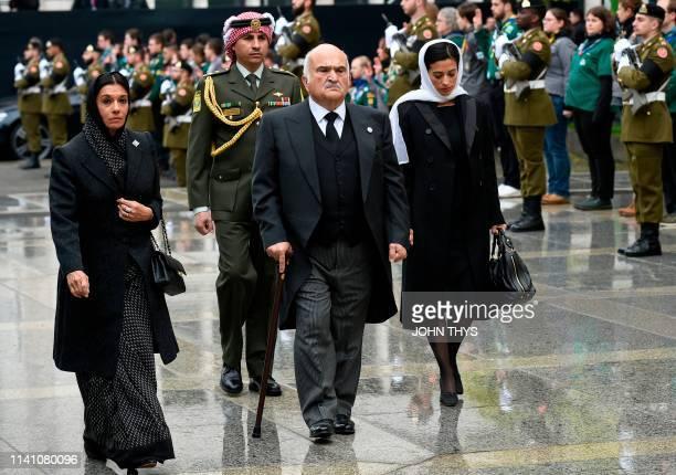 Prince Hassan Bin Talal of Jordan , Princess Sarvath of Jordan and Princess Badiya bint Hassan of Jordan arrive for the funeral ceremony of Jean...