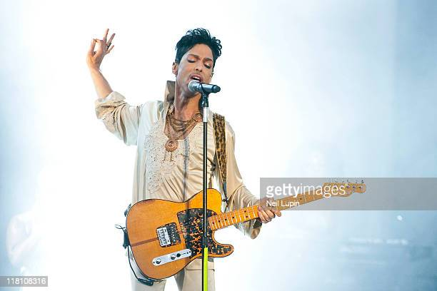 Prince headlines the main stage on the last day of Hop Farm Festival on July 3 2011 in Paddock Wood United Kingdom