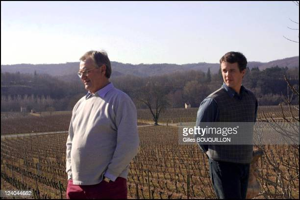 Prince Henri de Montpezat with wife Queen Margrethe of Denmark and sons Prince Henrik and Prince Joachim after he retires in Caix castle In Luzech,...