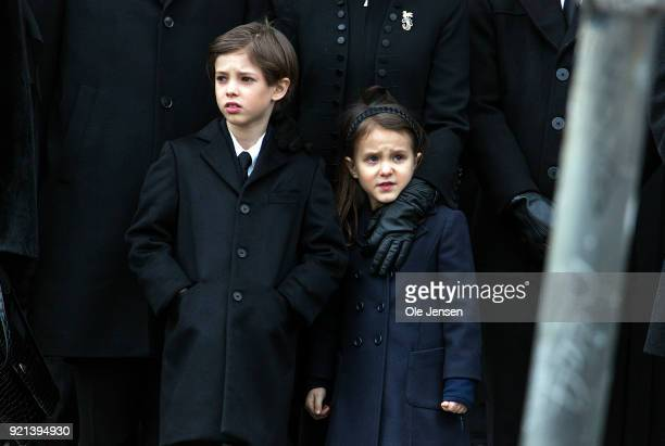 Prince Henrik and Princess Athena, children of Prince Joachim of Denmark, during the funeral of their grandfather, Prince Henrik, at the Parliament...