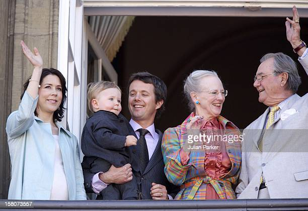 Prince Henrik, Crown Prince Frederik & Crown Princess Mary & Their Son Christian Appear On The Balcony Of Amalienborg Palace To Celebrate Queen...