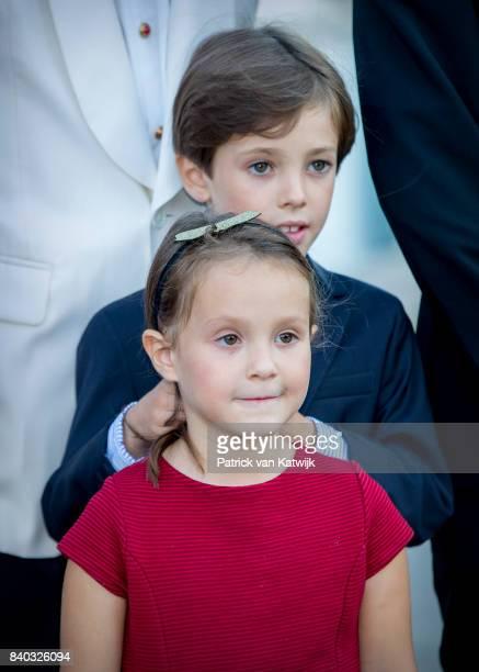 Prince Henrik of Denmark and Princess Athena of Denmark attend his 18th birthday celebration of Prince Nikolai at royal ship Dannebrog on August 28...