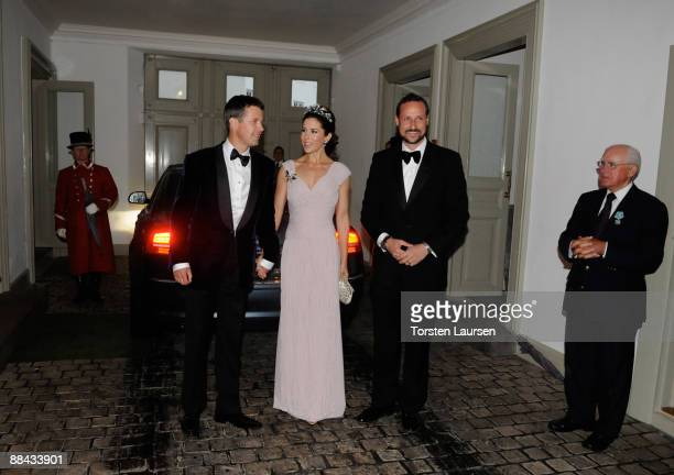 Prince Henrik of Denmark and Princess Mary of Denmark and Prince Haakon of Norway attends Prince Henrik of Denmark's 75th birthday dinner at...