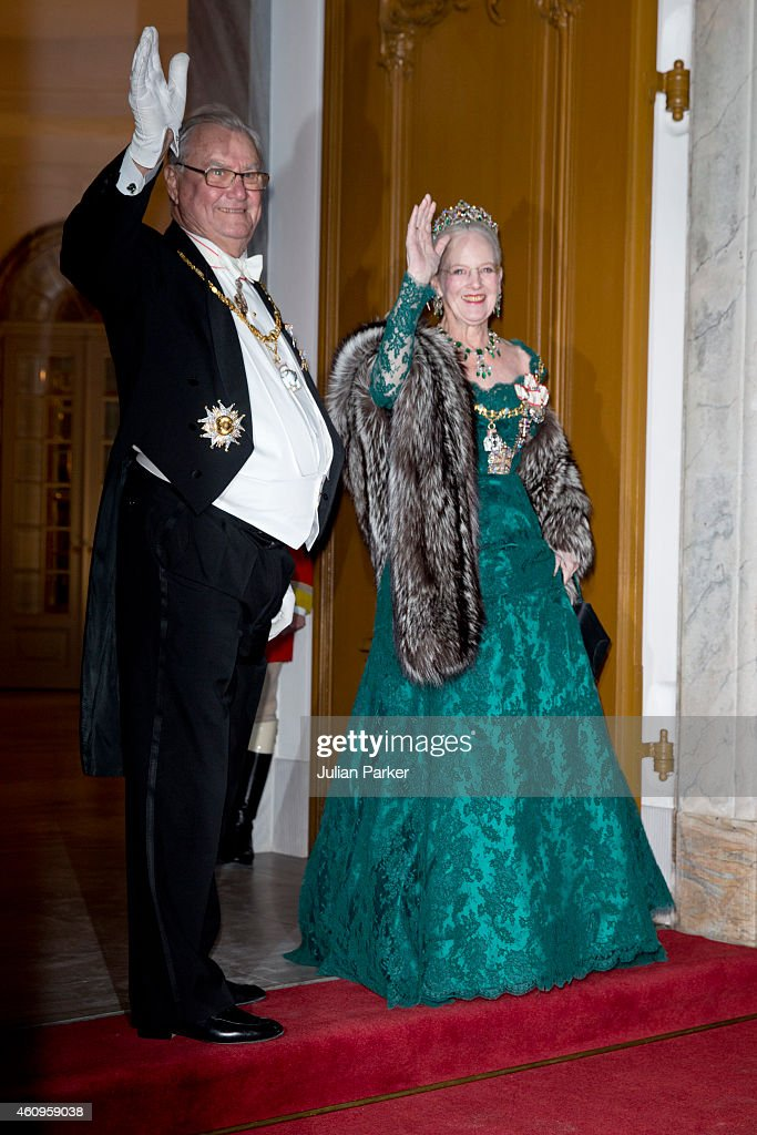 Prince Henrik of Denmark and Queen Margrethe of Denmark attend a New Years Levee and Banquet at Christian VII's Palace on January 1, 2015 in Copenhagen, Denmark.