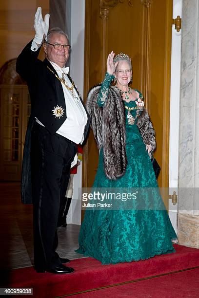 Prince Henrik of Denmark and Queen Margrethe of Denmark attend a New Years Levee and Banquet at Christian VII's Palace on January 1 2015 in...