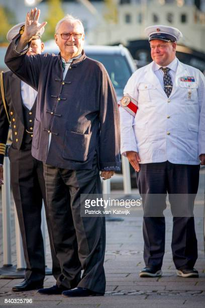 Prince Henrik of Denmark attends the 18th birthday celebration of Prince Nikolai at royal ship Dannebrog on August 28 2017 in Copenhagen Denmark