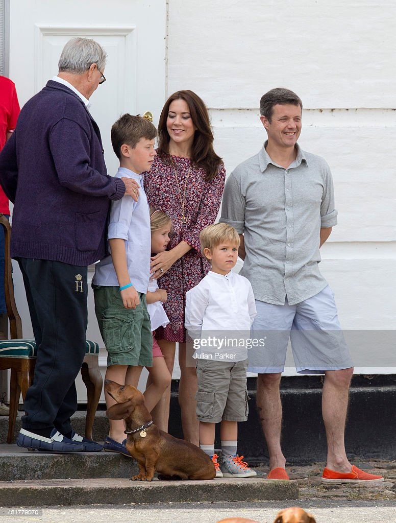 The danish royal family watch the guard change at grasten castle prince henrik of denmark crown prince frederik and crown princess mary of denmarkwith sciox Image collections