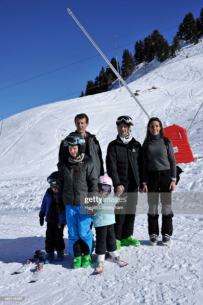 Prince Henrik of Denmark, Prince Felix of Denmark, Prince Joachim of Denmark, Princess Athena of Denmark, Prince Nikolai of Denmark and Princess Marie of Denmark attend the Danish Royal family annual skiing photocall whilst on holiday on February 10, 2015 in Col-de-Bretaye near Villars-sur-Ollon, Switzerland.