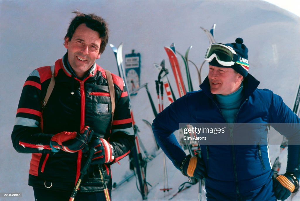 Prince Henrik of Denmark (left), the consort of Queen Margrethe II, with Prince Richard of Sayn-Wittgenstein-Berleburg, the husband of Margrethe's sister Benedikte, during a skiing holiday in Gstaad, 1977.