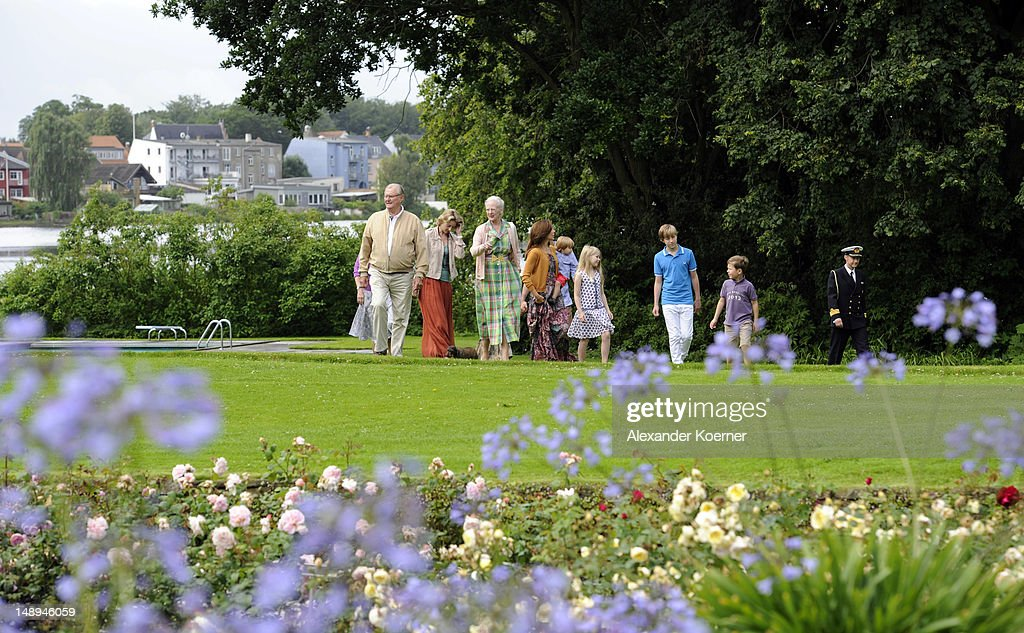 Prince Henrik, Princess Alexandra,, Queen Margrethe II, Crown Princess Mary, Prince Vincent, Countess Ingrid, Count Richard and Prince Christian pose during a photocall for the Royal Danish family at their summer residence of Grasten Slot on July 20, 2012 in Grasten, Denmark.