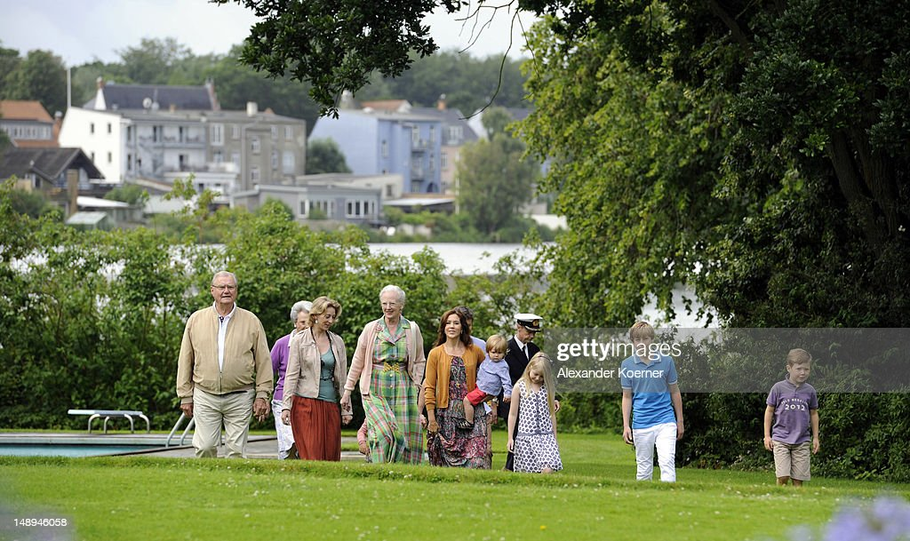 Prince Henrik, Princess Benedikte, Princess Alexandra,, Queen Margrethe II, Crown Princess Mary, Prince Vincent, Countess Ingrid, Count Richard and Prince Christian pose during a photocall for the Royal Danish family at their summer residence of Grasten Slot on July 20, 2012 in Grasten, Denmark.