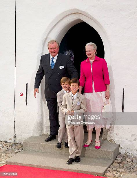 Prince Henrik Queen Margrethe II and Prince Joachim's sons Prince Nikolai and Prince Felix attend the Christening of Prince Henrik Carl Joachim Alain...