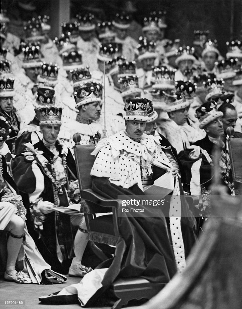 Prince Henry, 1st Duke of Gloucester (1900-1974) amongst an array of coronets during the Coronation of George VI in Westminster Abbey, 12th May 1937. The Duke of Gloucester was the third son of King George V and Queen Mary, brother of King George VI, and uncle of Queen Elizabeth II. He served as Governor-General of Australia (1945-1947).
