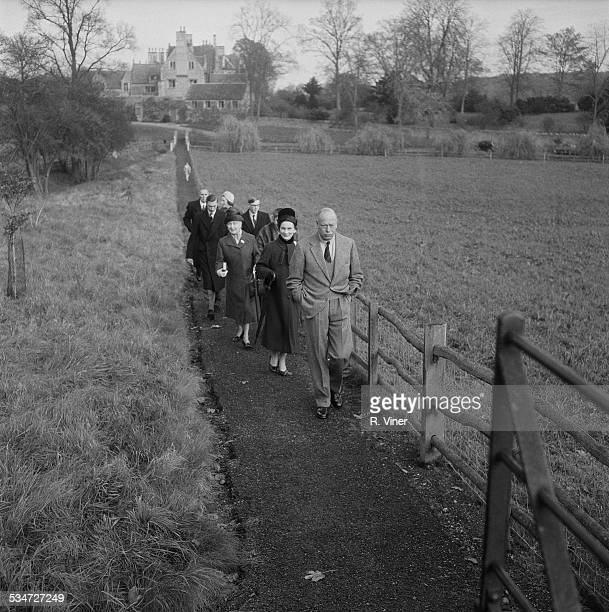 Prince Henry Duke of Gloucester and Princess Alice Duchess of Gloucester walk with their children Prince William of Gloucester and Prince Richard...