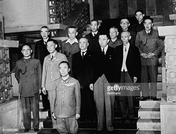 Prince Hihashi-Kuni Cabinet. Tokyo, Japan: Front row, Prince Naryhiko Higashi-Kuni. Second row, Shigemitsu, Foreign Minister; Yonai, Navy; Nakajima,...