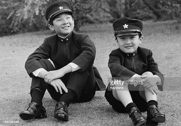 Prince Hiro aka Crown Prince Naruhito of Japan and his younger brother Prince Aya aka Prince Akishino wearing their new school uniforms in the...