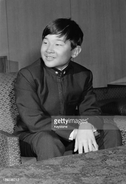 Prince Hiro aka Crown Prince Naruhito of Japan in his new school uniform at Togu Palace in Tokyo 9th April 1972 He has just begun studying at the...