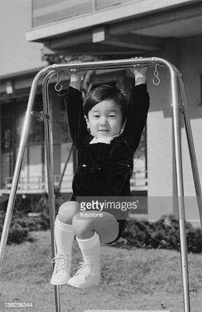 Prince Hiro aka Crown Prince Naruhito of Japan in the palace grounds the day before his 3rd birthday 22nd February 1963