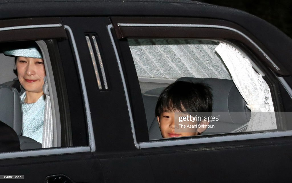 Prince Hisahito (R) and his mother Princess Kiko of Akishino (L) are seen on departure after meeting with Emperor Akihito and Empress Michiko on his 11th birthday at the Imperial Palace on September 6, 2017 in Tokyo, Japan.