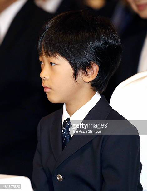 Prince Hisahito attends the memorial event of the Battle of Okinawa 'Battle of Okinawa and Children' at Keio Plaza Hotel on August 17 2015 in Tokyo...