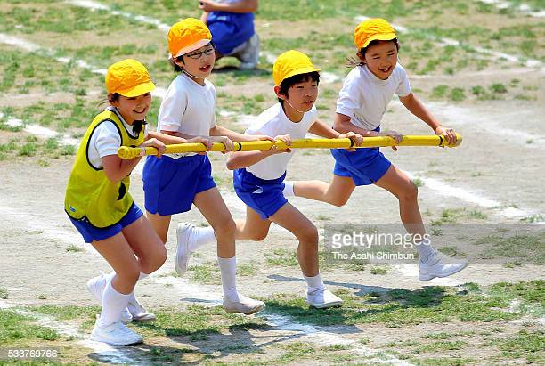 Prince Hisahito attends the Ochanomizu Elementary School sports festival on May 21, 2016 in Tokyo, Japan.