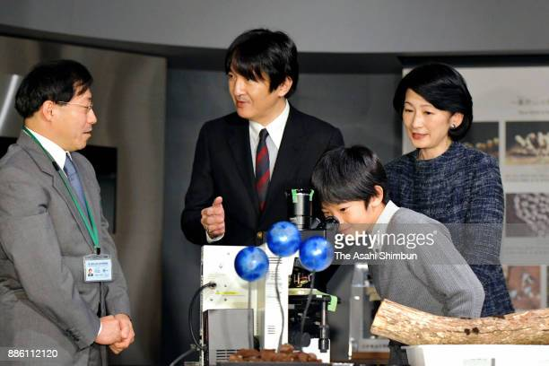 Prince Hisahito his parents Prince Akishino and Princess Kiko of Akishino visit Minakata Kumagusu Museum on December 5 2017 in Shirahama Wakayama...