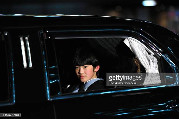 Prince Hisahito is seen on arrival at the Imperial Palace to greet Emperor Emeritus Akihito who turns 86 on December 23 2019 in Tokyo Japan