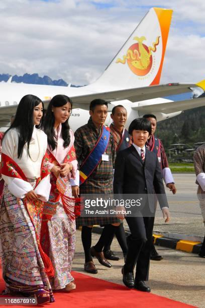 Prince Hisahito of Japan are welcomed by Princess Dechen Yangzom Wangchuck of Bhutan and Princess Euephelma Choden Wangchuck of Bhutan on arrival at...