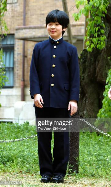 Prince Hisahito poses for photographs prior to attending the welcome ceremony at the Ochanomizu Junior High School on April 8 2019 in Tokyo Japan