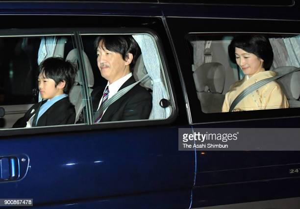 Prince Hisahito Prince Akishino and Princess Kiko of Akishino are seen on arrival at the Imperial Palace on January 2 2018 in Tokyo Japan