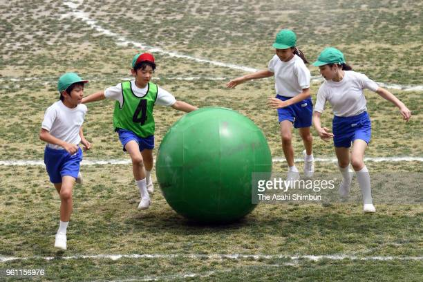 Prince Hisahito takes part in the sports festival at Ochanomizu University Elementary School on May 19 2018 in Tokyo Japan