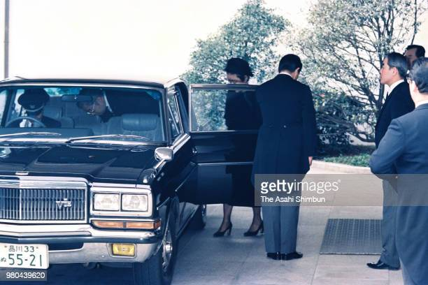 Prince Hitachi and Princess Hanako of Hitachi are seen after the 30 days anniversary ceremony of the late Prince Takamatsu on March 4 1987 in Tokyo...