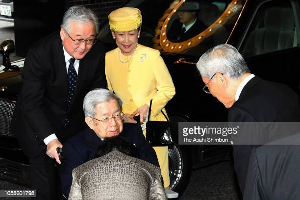 Prince Hitachi and Princess Hanako of Hitachi are seen on arrival at the reception of the 'Praemium Imperiale' on October 23, 2018 in Tokyo, Japan.