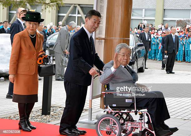 Prince Hitachi and Princess Hanako of Hitachi are seen upon arrival at the opening ceremony of the Chubu Ski Championships on January 25, 2015 in...