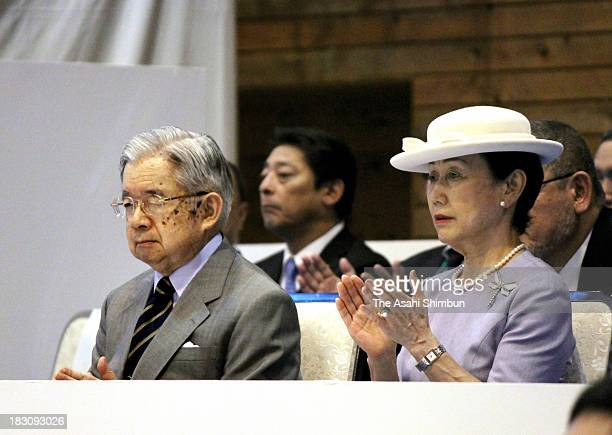 Prince Hitachi and Princess Hanako of Hitachi attend the weightlifting competition of the National Sports Festival at Kunitachi GGymnasium on October...