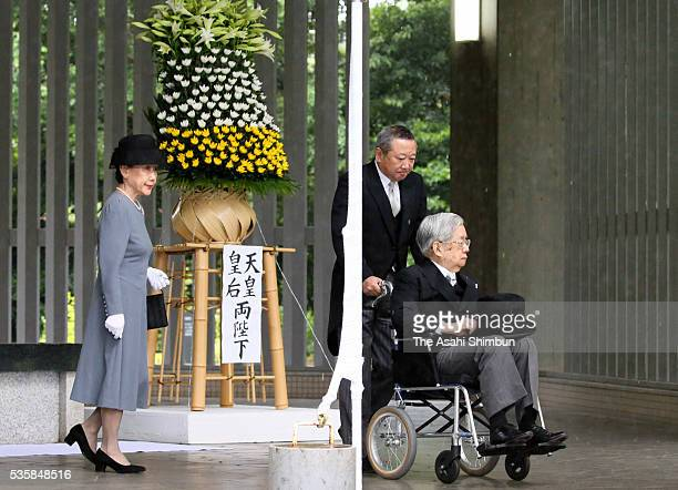 Prince Hitachi and Princess Hanako of Hitachi attend the memorial ceremony at the Chidorigafuchi National Cemetery on May 30, 2016 in Tokyo, Japan....