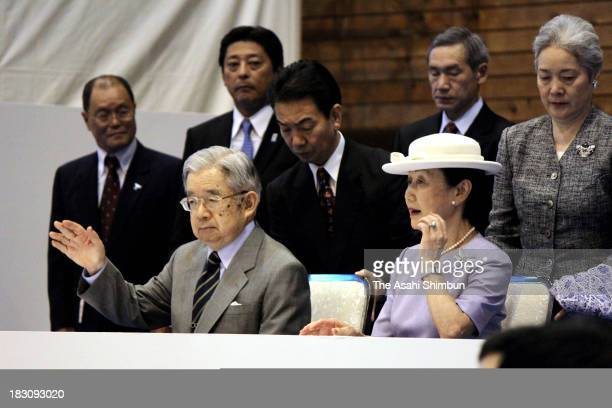 Prince Hitachi and Princess Hanako of Hitachi attends the weightlifting competition of the National Sports Festival at Kunitachi GGymnasium on...