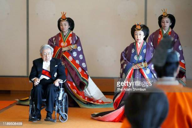Prince Hitachi and Princess Hanako of Hitachi, Princess Akiko of Mikasa and Princess Yoko of Mikasa attends the enthronement ceremony of Japanese...