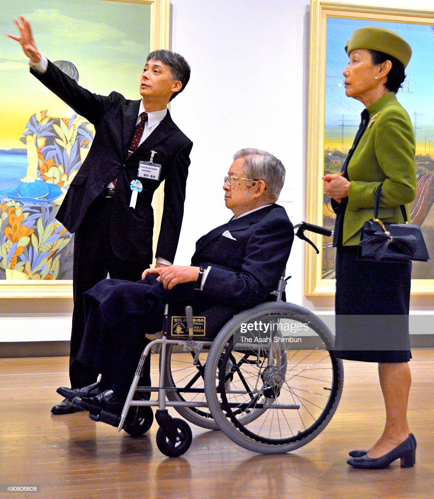 Prince Hitachi (C) and Princess Hanako of Hitachi (R) visit the Museum of Modern Art, Wakayama on September 30, 2015 in Wakayama, Japan.