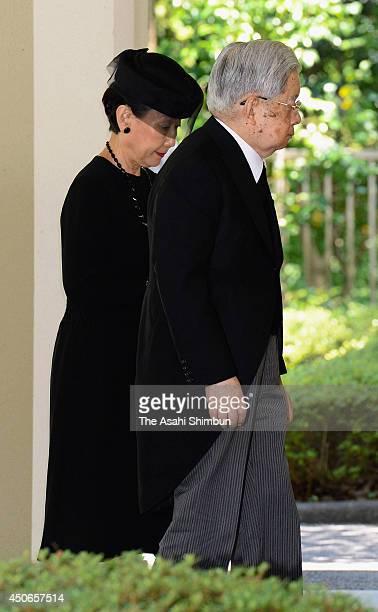 Prince Hitachi and Princess Hitachi, or Princess Hanako of Hitachi are seen as they attend the wake of Prince Katsura at Akasaka Estate Residence on...