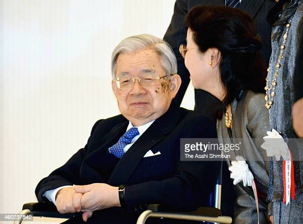 Prince Hitachi attend the art exhibition by the disabled people at Tokyo Metropolitan Theatre on December 10, 2014 in Tokyo, Japan.